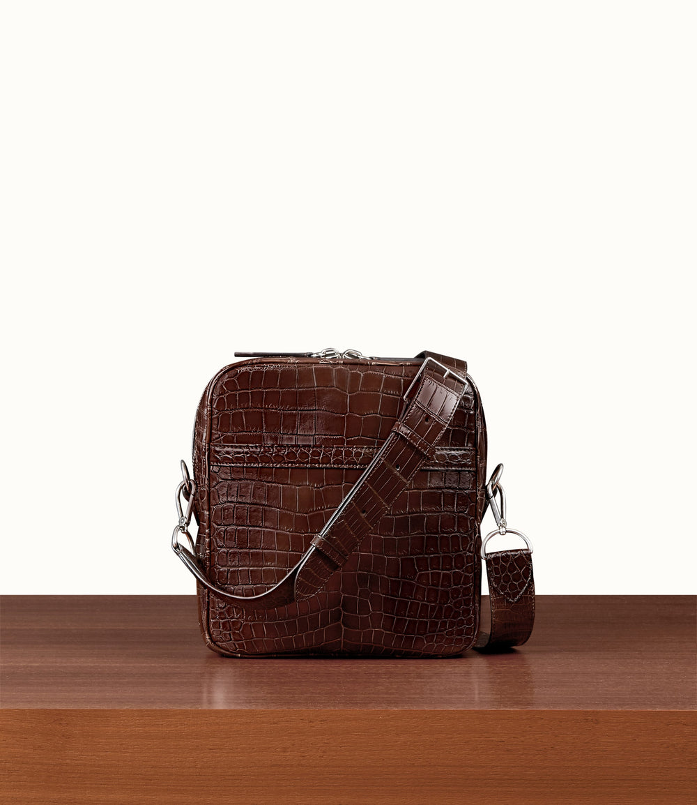Wanderer Cross Body Crocodile Maduro