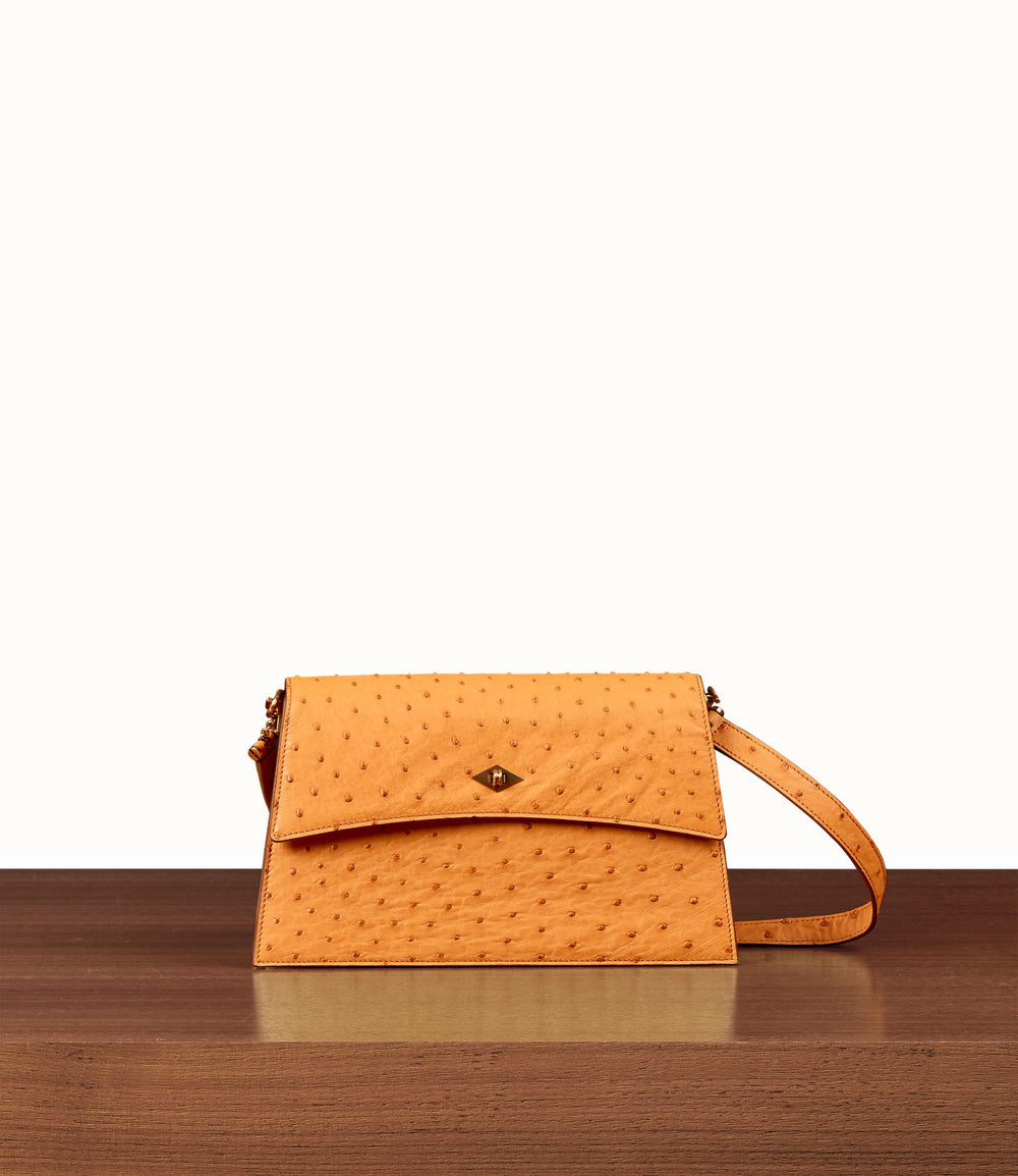 Roma Small Shoulder Bag Ostrich Buttercup
