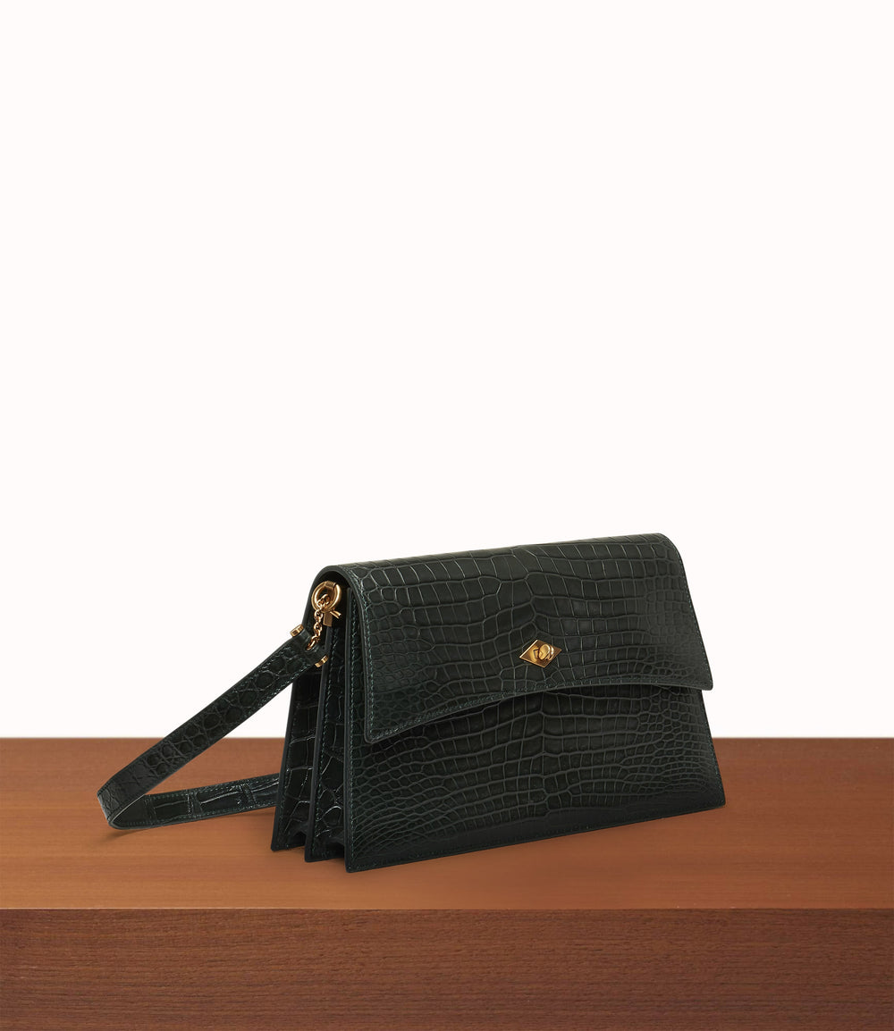 Roma Small Shoulder Bag Crocodile Emerald