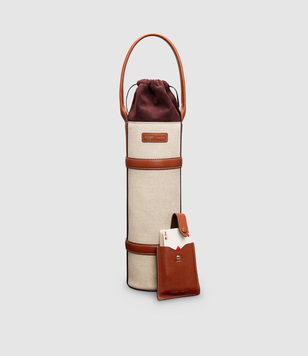 Wine Holder and Deck of Cards Case Buffalo Cognac