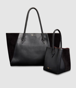 Perriand Collapsible Tote and Perriand Mini Atelier Calfskin Suede Black