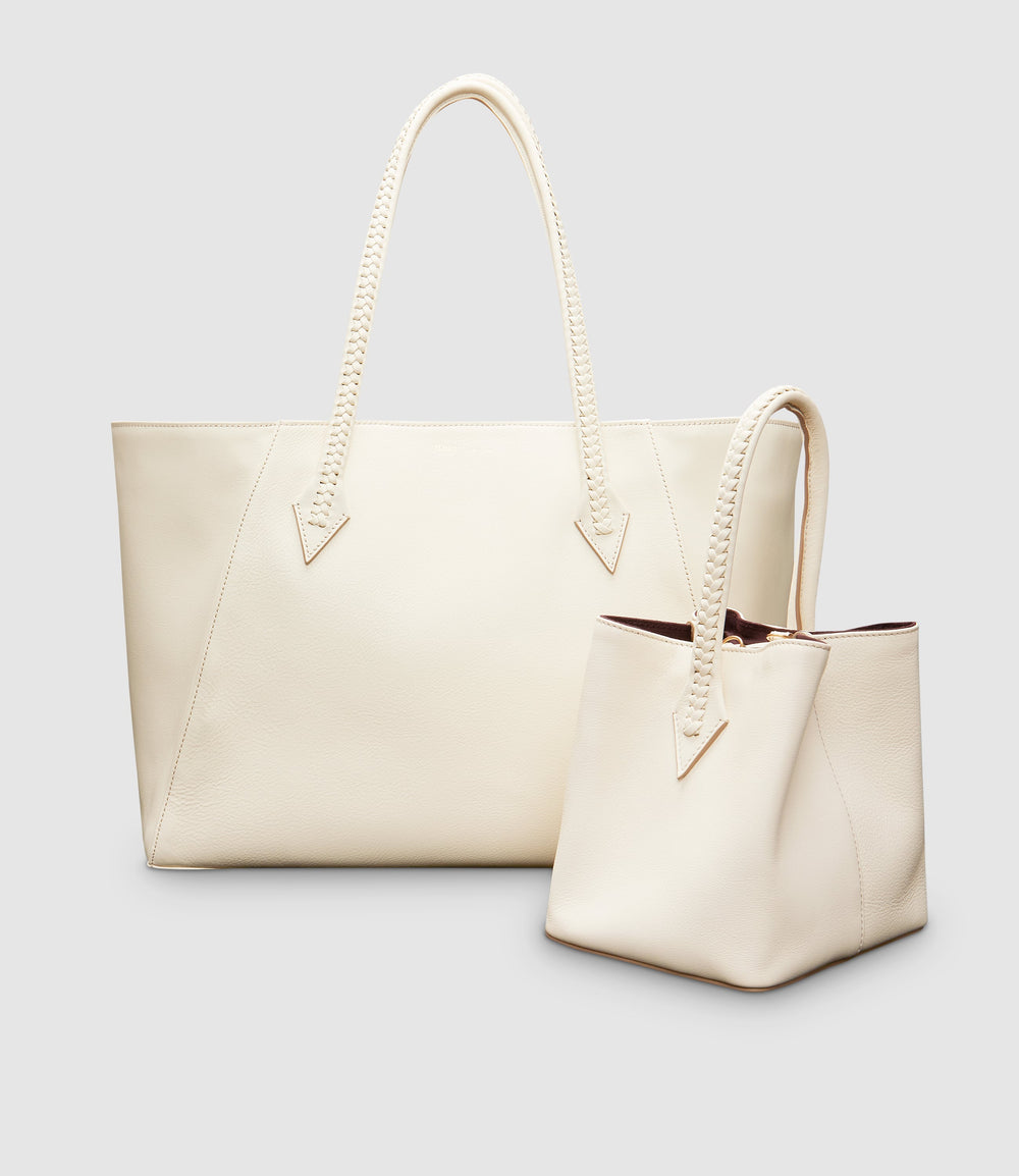 Perriand Collapsible Tote and Perriand Mini Smooth Calfskin White Sand