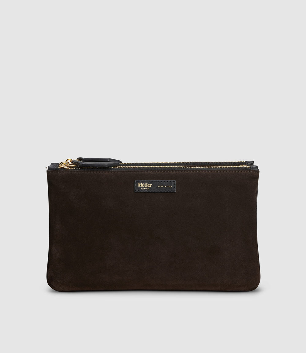 Large Organising Pouch Suede Chocolate
