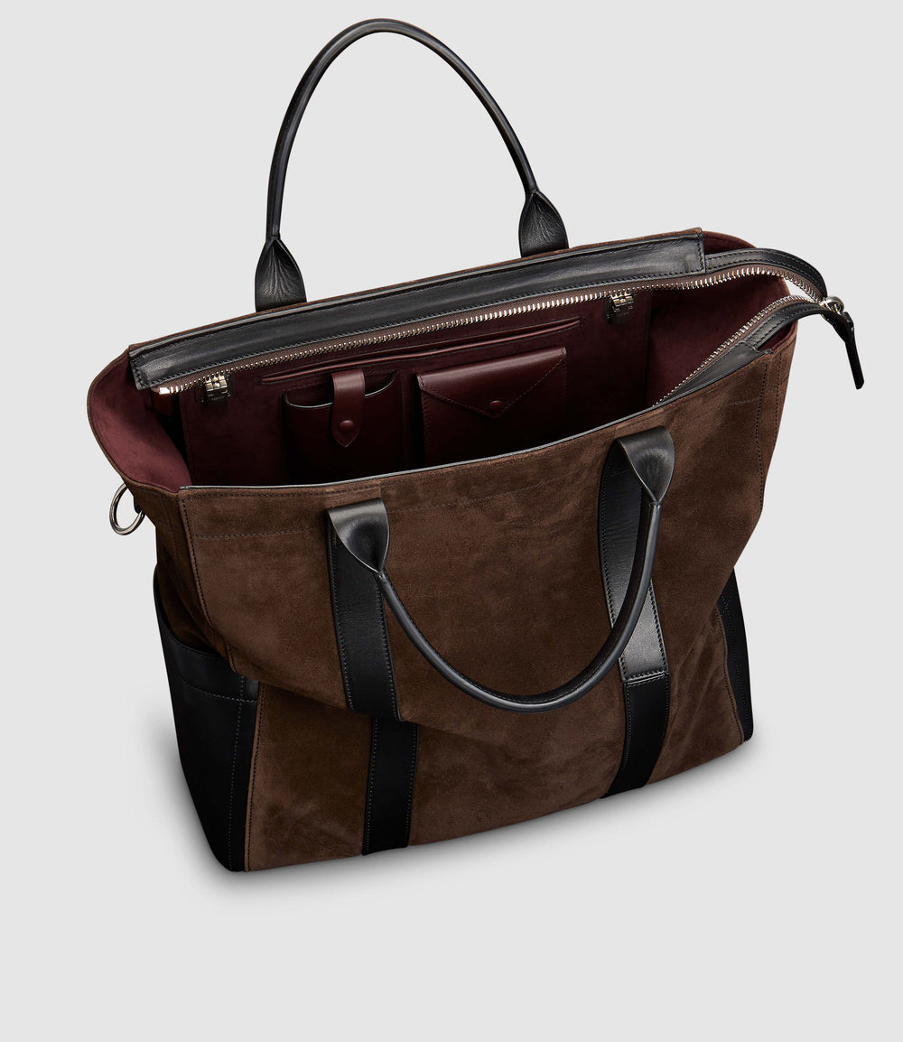 Mariner Zippered Tote Suede Chocolate