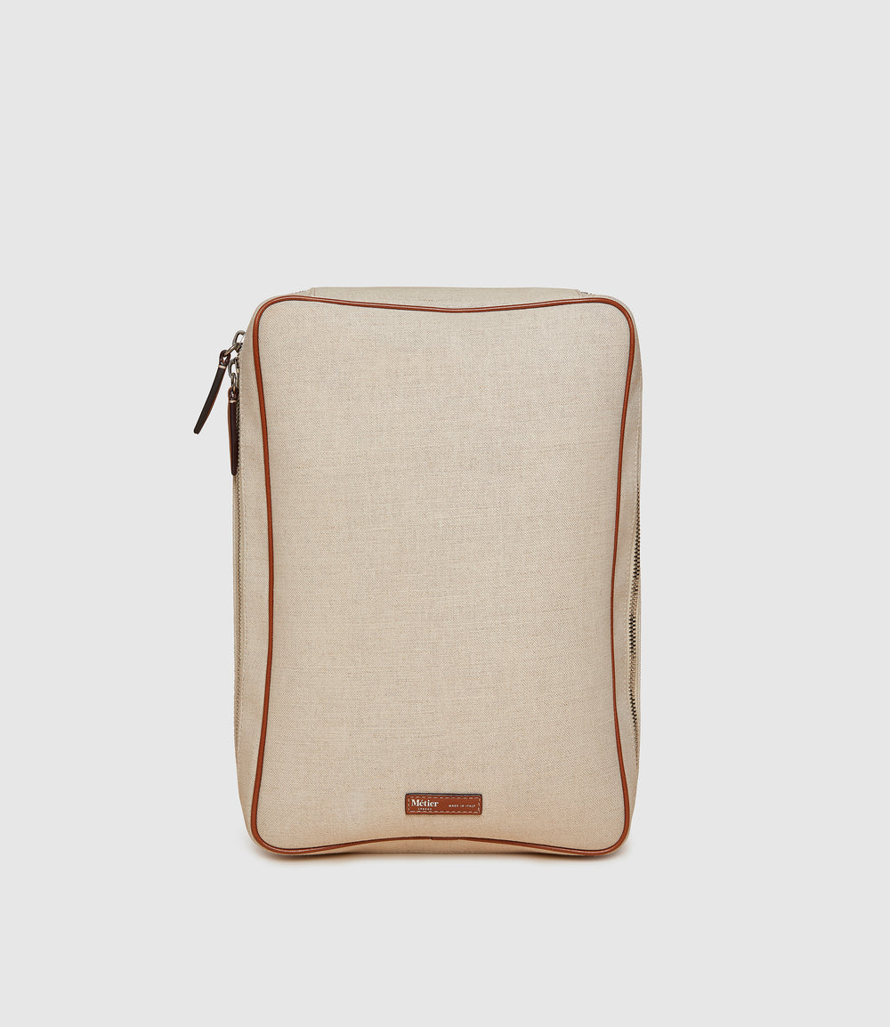 Medium Clothing Pouch Natural Linen with Cognac