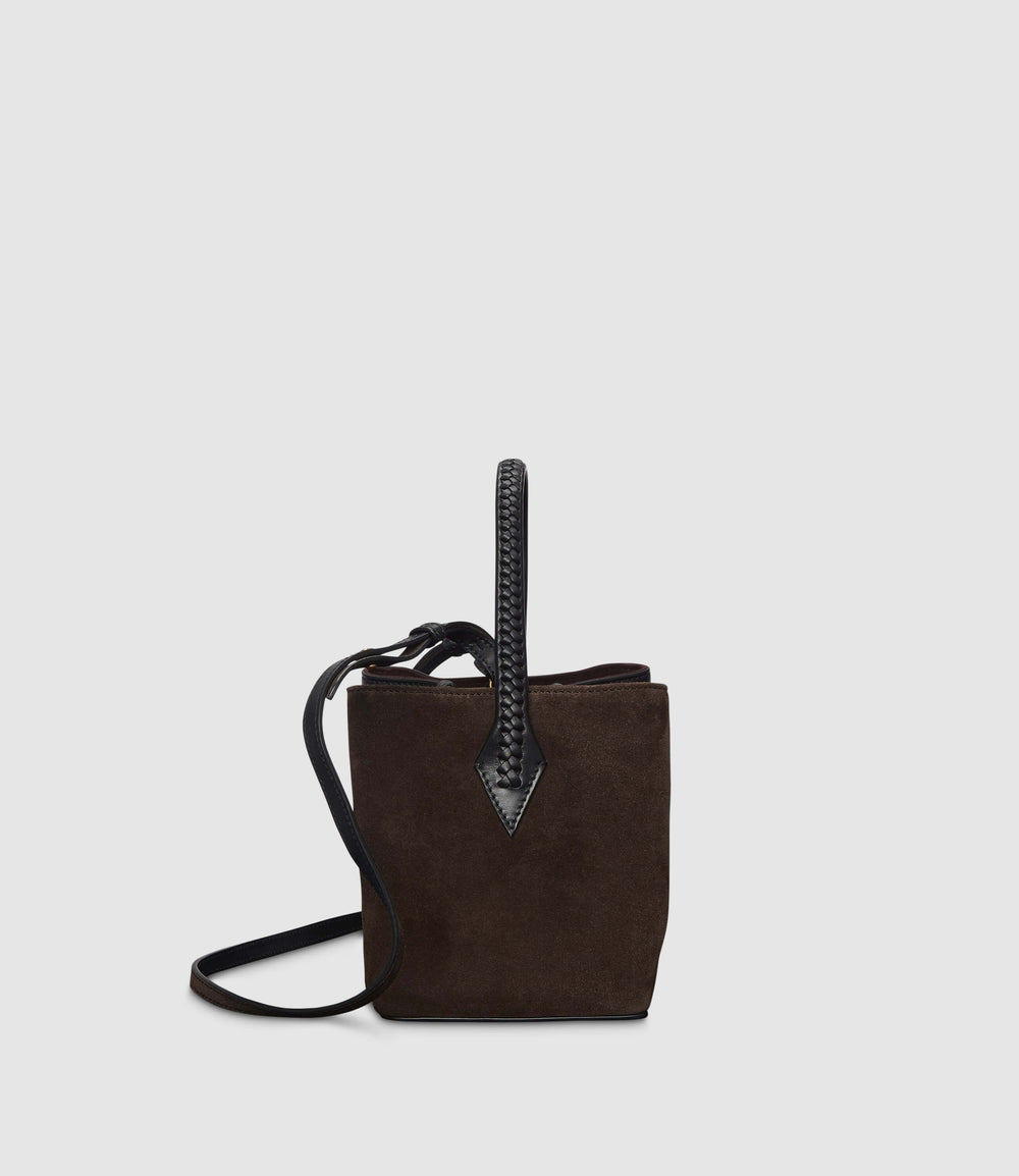 Perriand Mini Collapsible Tote Bag Atelier Calfskin Suede Black Chocolate
