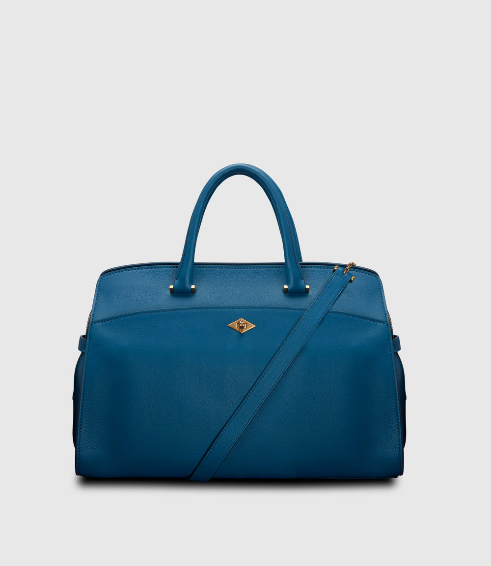 Private Eye Bag with Shoulder Strap Atelier Calfskin Riviera Blue | Luxury Women's day bag