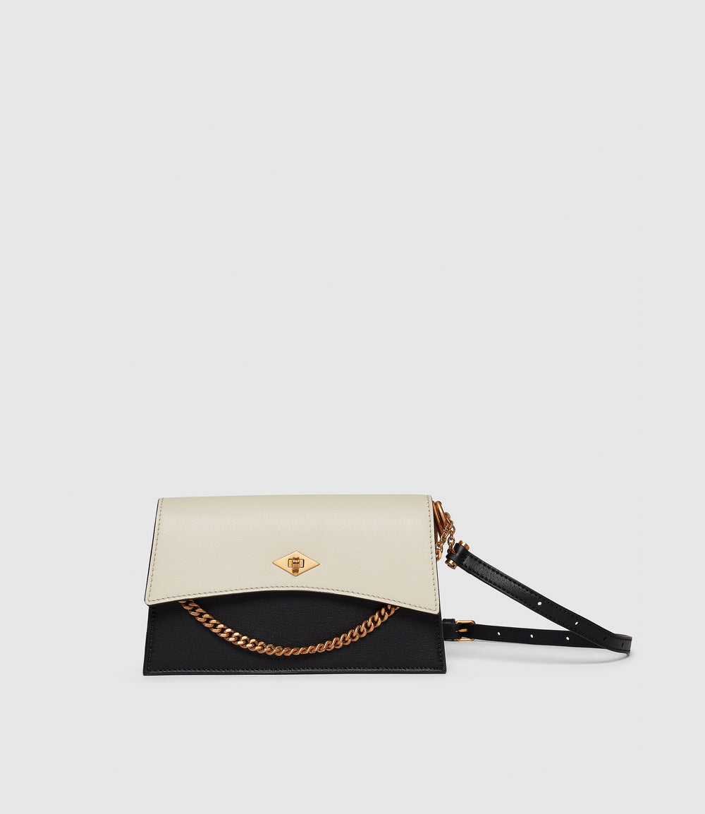 Roma Mini Shoulder Bag Smooth Calfskin Black and White Sand