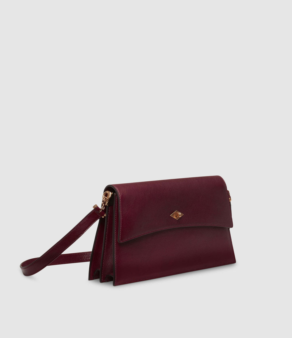 Roma Small Shoulder Bag Buffalo Dark Cherry