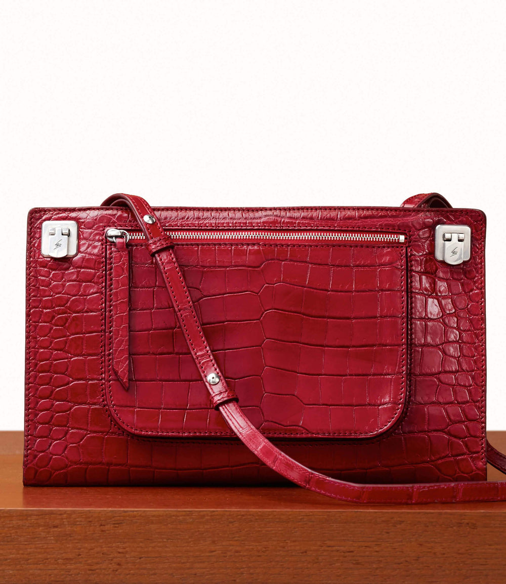 Runaway II Essentials Shoulder Bag Crocodile Classic Red | Leather Bags for Women