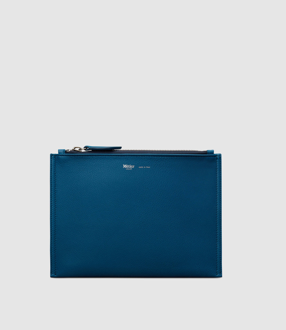 Small Flat Pouch Smooth Calfskin Riviera Blue
