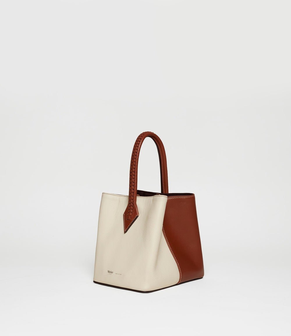 Perriand Mini Collapsible Tote Bag Smooth Calfskin White Sand Cognac