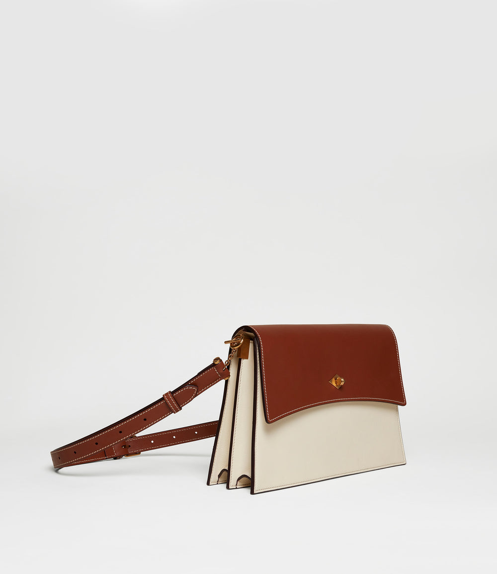 Roma Shoulder Bag Smooth Calfskin Buffalo White Sand Cognac