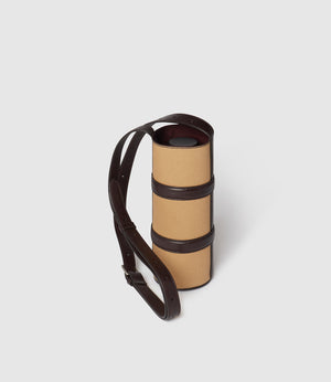 Water Bottle Holder Twill Sahara with Cioccolato