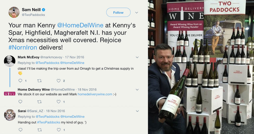 Hollywood star Sam Neill puts Home Delivery Wine in the Spotlight