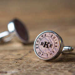 icon logo engraved in wood cufflink