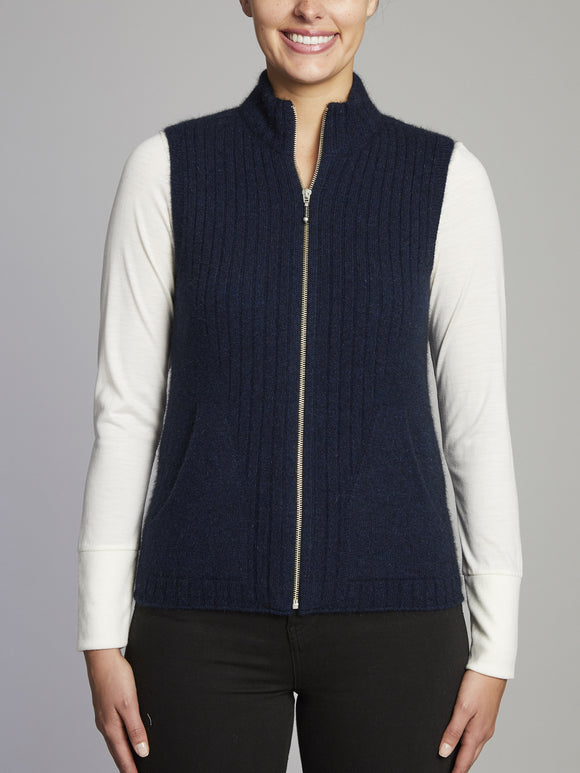 Kingscliff High-Neck Merino Wool Vest