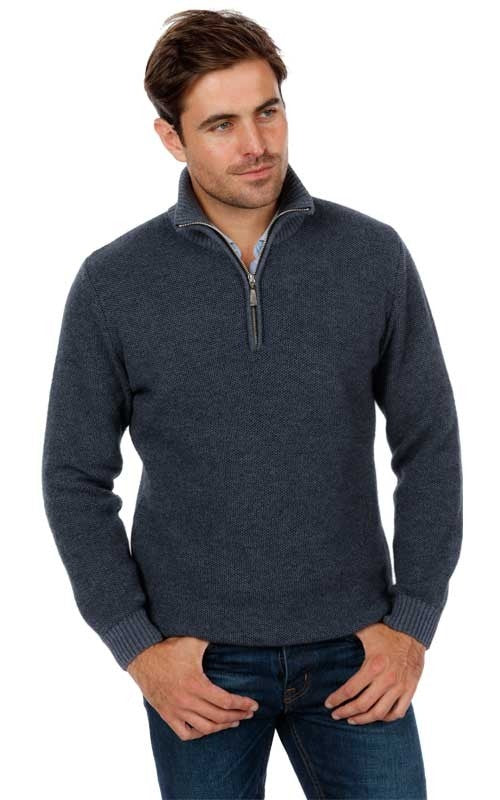 Textured Half Zip Sweater