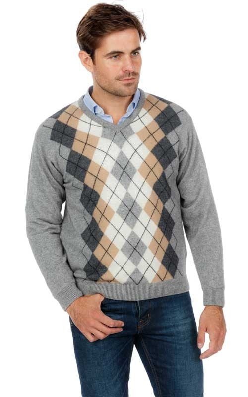 Vee Neck Argyle Sweater