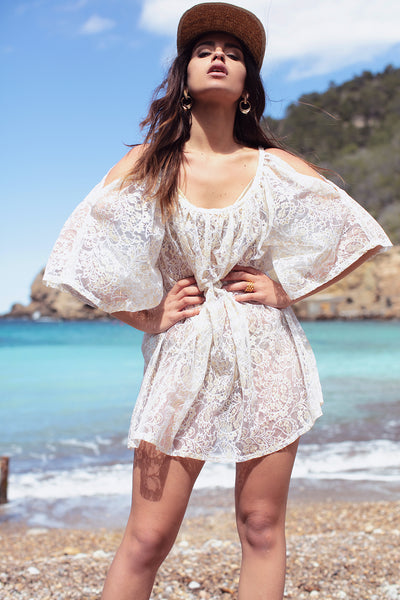 Augustina Lace Tunic Split Shoulder Sleeve- Yangzom Ibiza Fashion