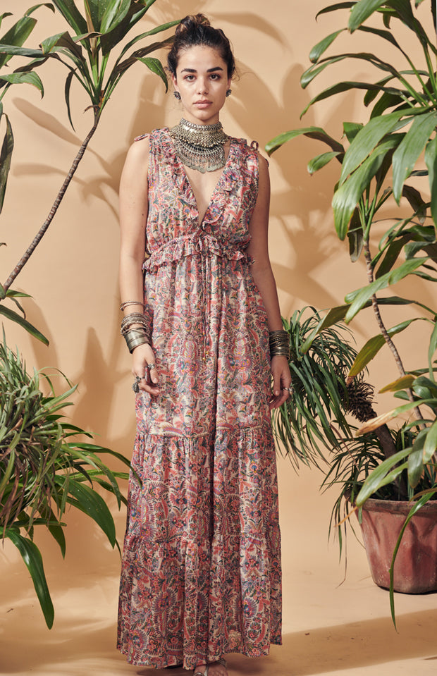 Es Pouet viscose lurex maxi bohemian dress w/ lining