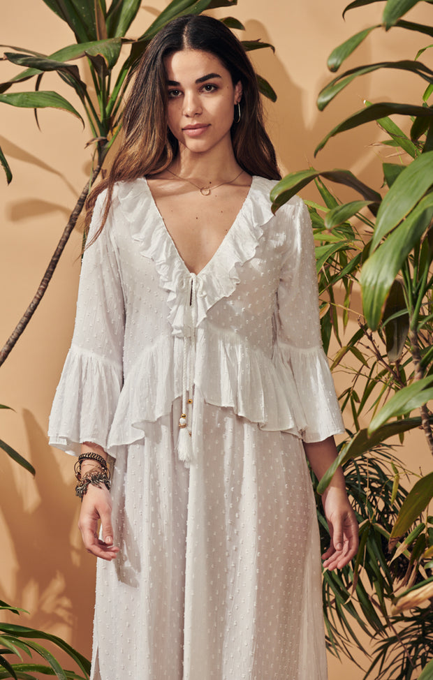 Formentera ruffle neck and sleeve dress