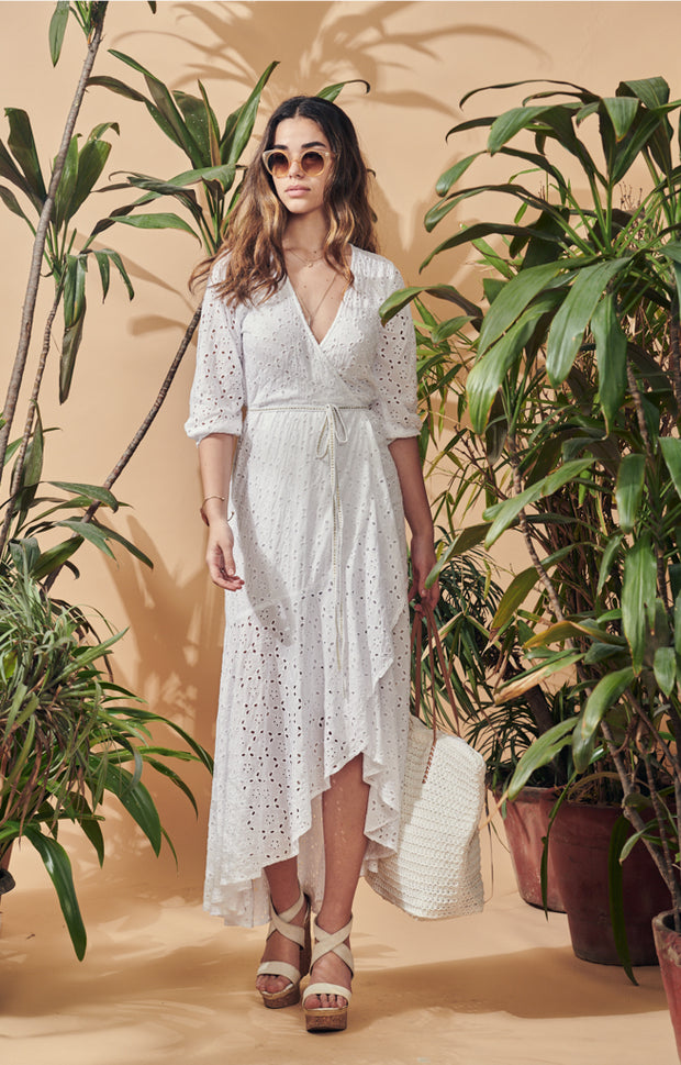 Isla Broderie Anglaise Wraparound Dress