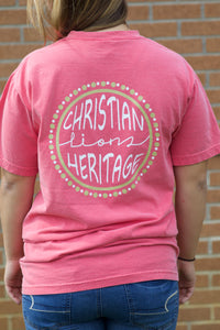 CHS CRUNCHBERRY CIRCLE WITH DOTS  COMFORT COLOR SHORT SLEEVE TEE