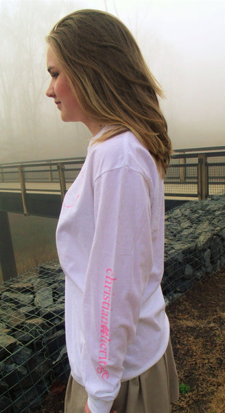 WHITE COMFORT COLOR LONG SLEEVE WITH PINK LION
