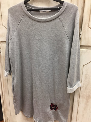 GRAY 3/4 SLEEVE GRAY FLEECE DRESS