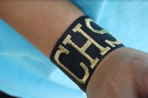 Black Leather Cuff with CHS Monogram