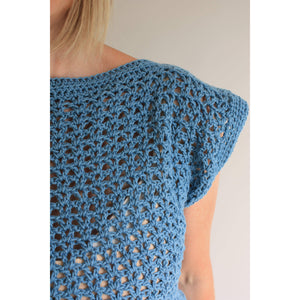Dolphin Waves Easy Summer Top Crochet Pattern-King & Eye