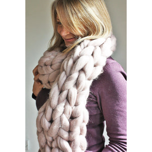 Handmade Oversize Chunky Knit Merino Scarf-Hats & Scarves-King & Eye