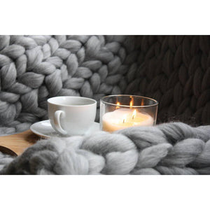 Giant Knit Throw - 100% Merino 23 Microns-Chunky Knit Blankets-King & Eye