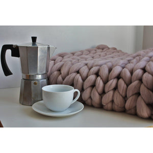 Giant Knit Throw Pure Merino Wool Blanket-Chunky Knit Blankets-King & Eye
