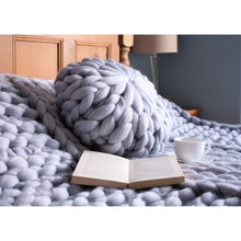 Load image into Gallery viewer, Chunky Knit Round Merino Pillow - King & Eye
