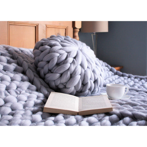 Round Knitted Bed Pillow-Cushions & Pillows-King & Eye