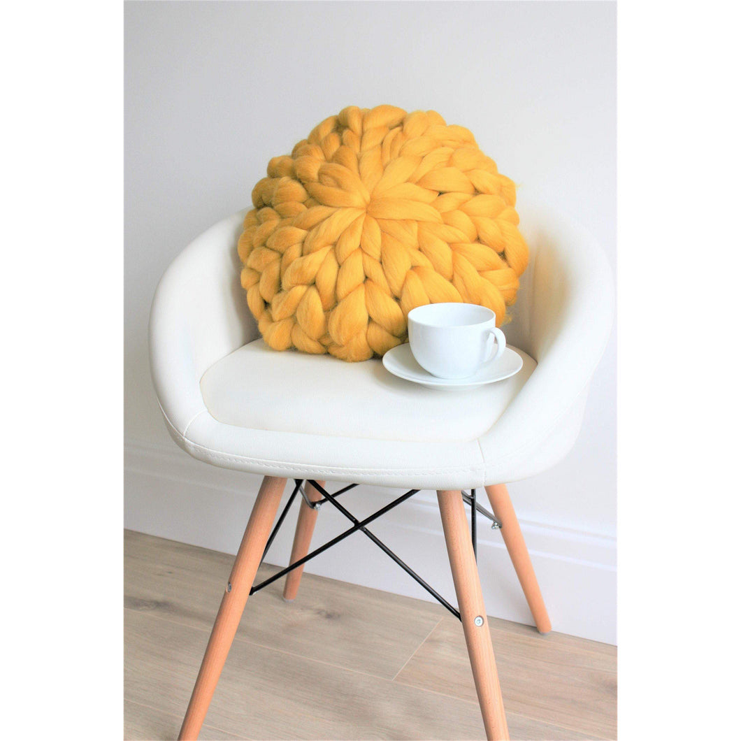 Chunky Knit Round Merino Pillow-Cushions & Pillows-King & Eye