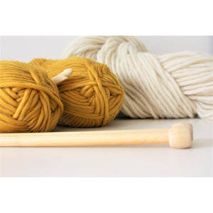 Mustard Merino Wool Super Chunky Knitting Yarn-Super Bulky Yarn King and Eye