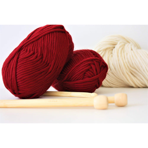 Red Merino Super Bulky Wool Super Bulky Yarn King and Eye