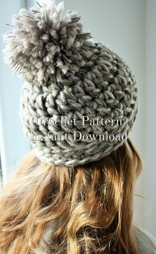 Crochet Hat Pattern Winter Hat Instant PDF Digital Download Unisex Hat Tutorial Womens Teens Beanie DIY