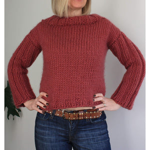 Railway Sleeve Cropped Sweater Easy Knitting Pattern-Patterns & Kits-King & Eye