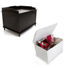 Hadley Storage Chest in Black  and Hadley Storage Chest in White with Lid open holding pet supplies