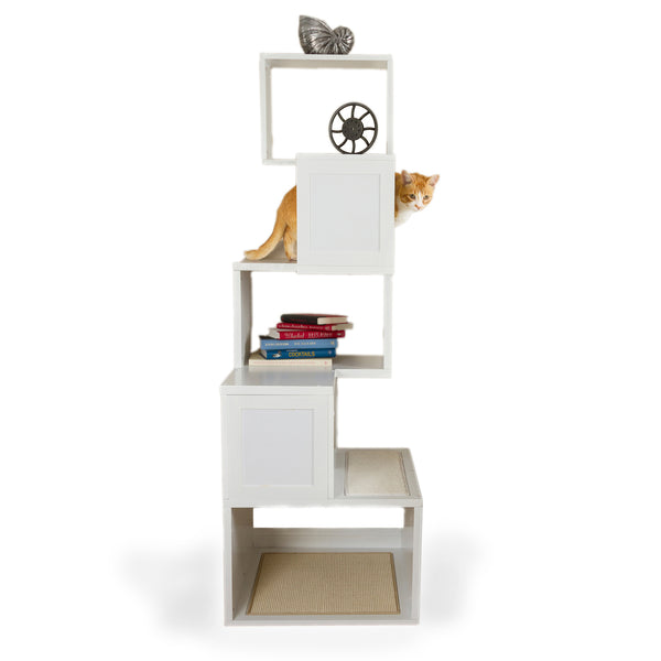 Sebastian Modern Cat Tree in White - Freestanding