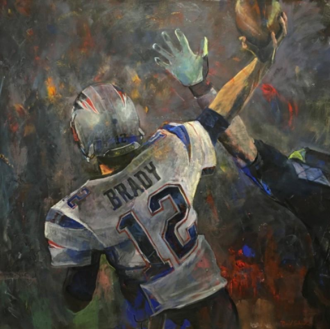 Tom Brady Painting Throwing Ball