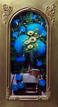 Blue Hydrangeas with Morning Glory on arched panel by Sean Farrell