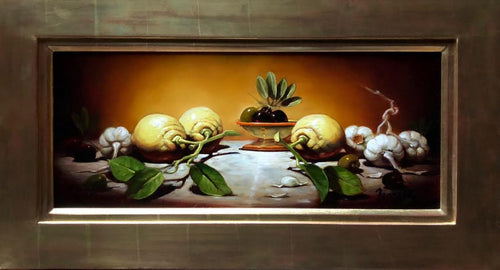 Lemon, Garlic with Olives - Old Masters Painting by Sean Farrell