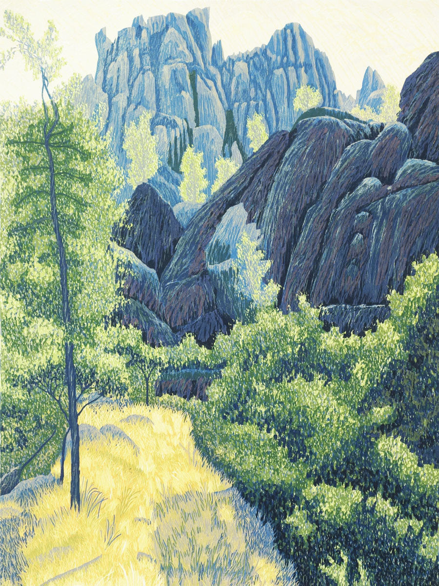 Pinnacles by Gordon Mortensen - Limited Edition Landscape Reduction Woodblock Print