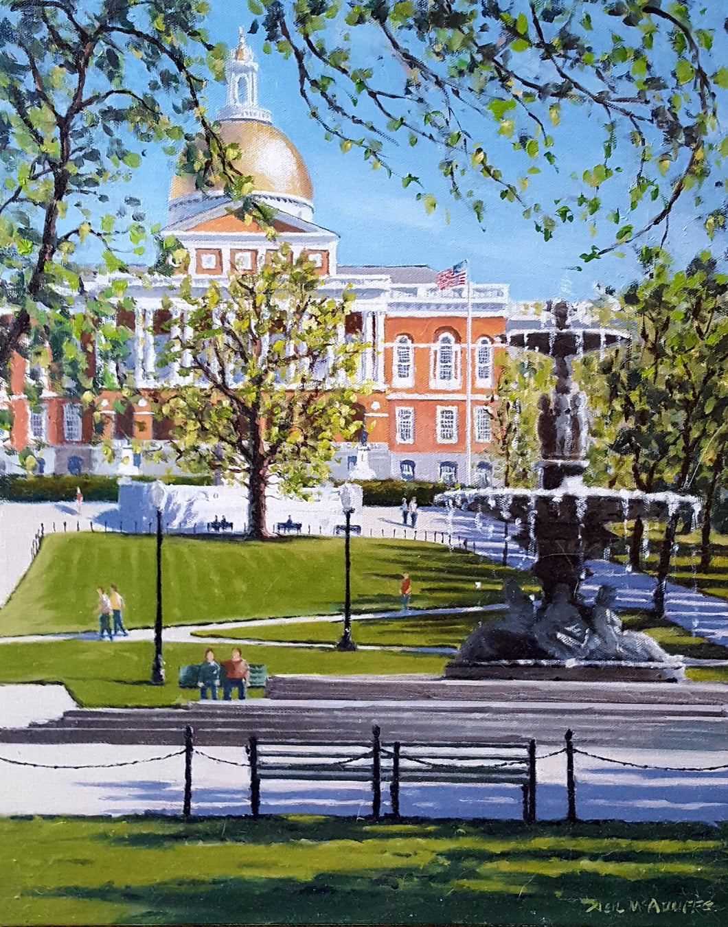 Massachusetts State House oil on canvas by Neil McAuliffe