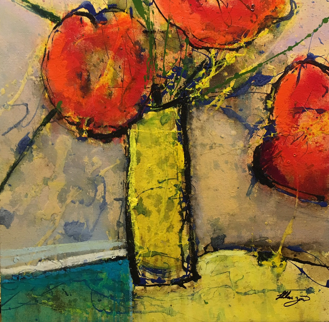 Le Fleur I by Helen Zarin - Modern Colorful Abstracted Still Life Painting